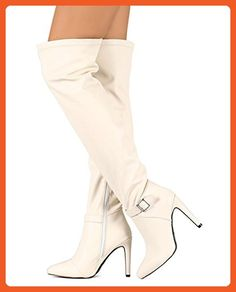 Qupid DB43 Women Leatherette Pointy Toe Thigh High Ankle Strap Stiletto Boot - Bone (Size: 6.0) - Boots for women (*Amazon Partner-Link)