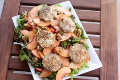 Goat Cheese Salad with Peaches, Strawberries and Poppy Seed Dressing