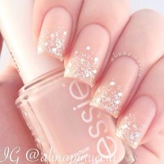 nails, glitter, and nail art image Love Nails, Pink Nails, Gel Nails, Nail Polish, Matte Nails, Blush Nails, Glitter Nail Art, Silver Glitter, Trendy Nail Art