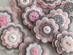 Discover thousands of images about BABY GIRL GREY Handmade Layered Felt Flower Button Embellishments Brooche Wool Mix Baby Pink, Silver Grey, White Felt Diy, Felt Crafts, Fabric Crafts, Sewing Crafts, Diy And Crafts, Button Flowers, Felt Flowers, Fabric Flowers, Paper Flowers