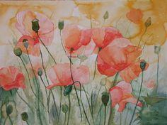 Dream in the poppy field (c) #watercolor by Frank Koebsch, 56 * 76 cm, sold