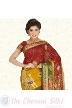 Tri Colour Peacock Net Embroidery Bridal Silk Saree PSS222 http://www.shopcost.in/bridal+silk+saree