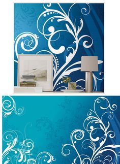Blue and White Scroll XL Wall Mural - Wall Sticker Outlet