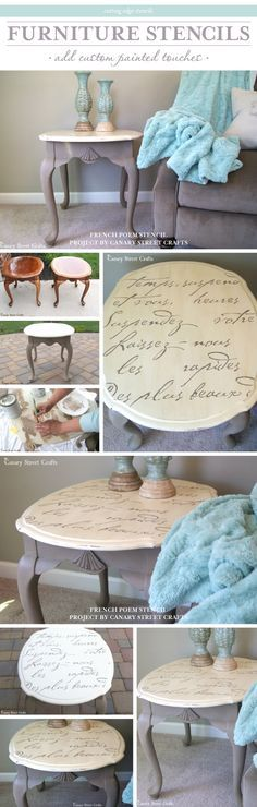 A DIY stenciled side table using the French Poem Allover stencil.   http://www.cuttingedgestencils.com/french-poem-typography-letter-stencil.html?utm_source=JCG&utm_medium=Pinterest&utm_campaign=French%20Poem%20Allover%20Stencil