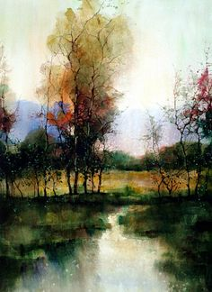 Fine Art and You: Beautiful Watercolor Landscape Paintings by ZL Feng Watercolor Landscape Paintings, Watercolor Trees, Easy Watercolor, Landscape Art, Japanese Watercolor, Painting Trees, Watercolor Fashion, Watercolor Artwork, Watercolor Portraits
