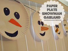 School Time Snippets: Paper Plate Snowman Garland