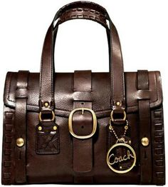 In love with this dark brown leather COACH handbag