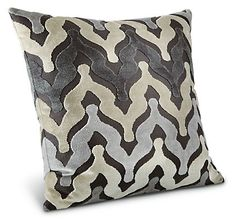 With a strong graphic pattern, the hand-sewn Mahal pillow makes an eye-catching accent. Exclusive to Room & Board, this pillow includes a high-quality feather and down insert and the zippered velvet cover removes for dry cleaning.