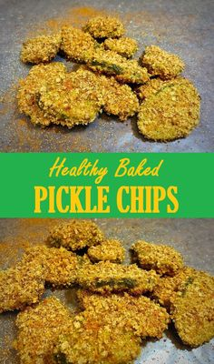 Healthy baked pickle chips recipe with half the calories and fat of the fried version!