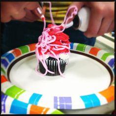 Cupcake Boss program! Plain cupcakes + spray frosting + decorations = insane fun!