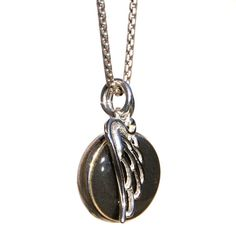 Cremation Jewelry - 10mm Double-sided Cremation Necklace with Angel Wing Charm