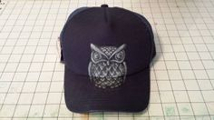 Hand Painted Trucker Hat Snapback Stone Owl by SUMMERPROOFDESIGNS, $50.00