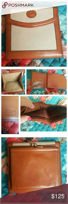 Dooney & Bourke AWL Wallet A vintage Dooney wallet in Bone with British Tan trim. In great condition; minor patina on the leather and very minimal wear in the coin area.  ✔As with any vintage item; perfection isn't going to be found. 🌟REASONABLE OFFERS ENTERTAINED🌟 ❌TRADES ❌LOWBALLERS WILL BE BLOCKED😬 🔥SALE prices are FIRM🔥 Dooney & Bourke Bags Wallets