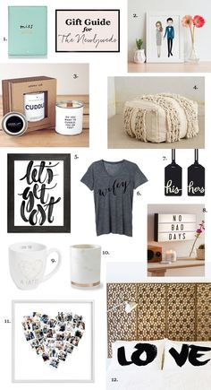 Holiday Gift guide for the newlyweds - 2016. Perfect as a gift for a December/January or winter wedding or as a sweet gift for the married couple! Includes: Wifey tee, Love pillows, Moroccan wedding pouf, no bad days cinema LED light box, heart collage photo print, a cuddle candle, an artistic portrait of the couple, i love you a latte mug, a passport holder by kate spade and a darling let's get lost calligraphy print