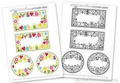 Christmas Jar Labels- free printable from picklebums.com. One version coloured and read to go, and one in black and white ready to colour in!