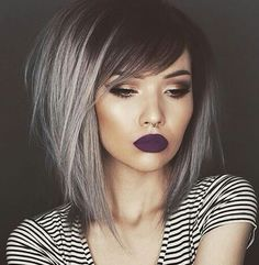 25 Silver Hair Color Looks that are Absolutely Gorgeous – Balayage Haare Bob Hair Color, Bob Hairstyles With Bangs, Short Haircuts, Hairstyles Haircuts, Hairstyle Short, Emo Haircuts For Girls, Hairstyle Ideas, Black Hairstyles, Summer Haircuts
