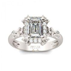 Jeulia Flower Design Halo Radiant Cut Created White Sapphire Engagement Ring - Jeulia Jewelry