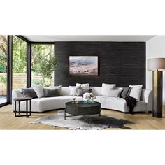 TINSLEY COFFEE TABLE Curved Couch, Curved Sectional, Modern Sectional, Cream Sectional, Cream Couch, Gebogenes Sofa, Black Floor Lamp, Decoration, Living Room Furniture