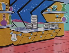 Just Peachy, Darling: March 2014 Cartoon Background, Animation Background, Background Vintage, Landscape Illustration, Illustration Art, Vintage Cartoons, Morning Cartoon, The Jetsons, Retro Futuristic