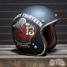Torc T-50 Lucky 13 Tank Moto Helmet - Overview Motorcycle Helmets, Riding Helmets, Bobber Helmets, Bobber Parts, Old Scool, Open Face Helmets, Custom Helmets, Football Helmets, The Dreamers