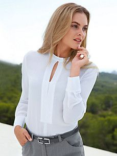 Blouse in silk from Peter Hahn , white - Order now in the PETER HAHN Shop. Shirt Blouses, Shirts, Check Shirt, Blouses For Women, Shirt Style, Designer Dresses, Hahn, Tunic, Outfits