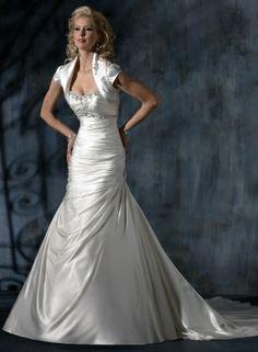 Lavish Monroe Satin Strapless Scoop Neckline A-line Wedding Dress