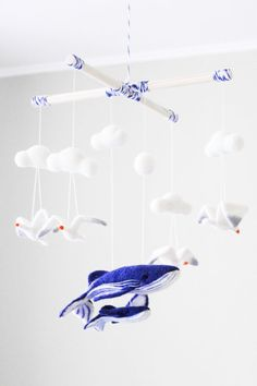 Needle Felted Whale Baby Mobile Ocean Nursery by WoolenTenderness