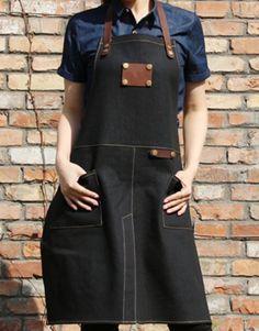 Unisex Black Denim Bib Apron with Genuine Leather Straps and Convenient Pockets. Suitable for Uniforms of Barber,Hairdresser,Barista,Bartender,Stylist,Waiter/Waitress,Florist,Painter,Gardener, Baker,Chef,or Work ware of Cafe, Bistro, Restaurant,Bakery,Tattoo shop,Craft workshop etc.