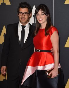 Pin for Later: Stars Get All Glammed Up For the Governors Awards  Pictured: Zooey Deschanel and Jacob Pechenik