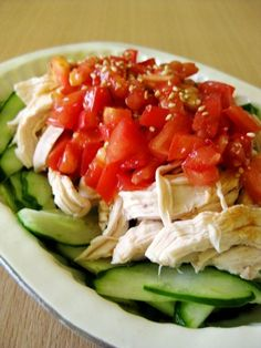 """""""You can make this easily with ingredients you have on hand. The juicy and spicy tomato sauces matches well with the chicken and cucumber. The sesame is great in this too! Cooking Time, Cooking Recipes, Spicy Tomato Sauce, Serving Plates, Caprese Salad, Japanese Food, Great Recipes, Main Dishes, Food Porn"""
