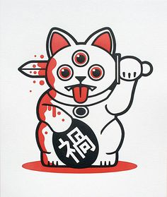 gojyochan:  Ever wonder what the opposite of a Maneki Neko was? Meet Misfortune Cat! Available in both print and toy form (extremely limited edition) from http://playge.net/ (Via OMG Posters!)