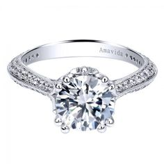 Gorgeous 18K White Gold Diamond Prong Set Knife Edge Engagement Ring