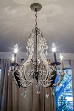 beautiful Louis XVI crystal chandelier with beaded arms in the ...