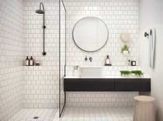 not really industrial, but I like the tiles, the simplicity of the shower door, mirror etc.  would love to see what the toilet arrangement looks like