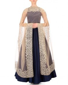 Nikhil Thampi Navy Blue Dupion Silk Solid Anarkali with Embroidered Dupatta