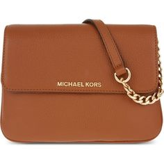 MICHAEL MICHAEL KORS Bedford leather cross-body bag ($240) ❤ liked on Polyvore featuring bags, handbags, shoulder bags, luggage, leather crossbody, genuine leather handbags, brown leather crossbody, leather crossbody handbags and leather purse