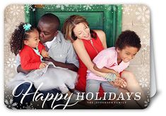 Happy Framed Flurries Holiday Card, Rounded Corners, Dynamiccolor
