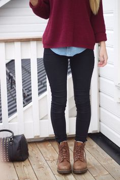 Love pairing a denim button up under plain sweaters! Totally spices up your outfit!