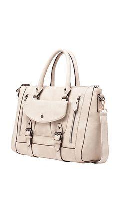 Brandy Belted Front Pocket Satchel white :)