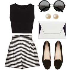 I have high waisted black shorts, a blk&white striped tee..cute with wedges and a bright purse.