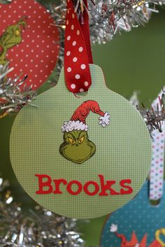 Custom Personalized Grinch Christmas Ornament - Monogram, Initial, Name by Magnolia Mommy Made