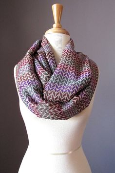 Infinity scarf knit scarf knit pattern scarf by ScarfObsession