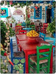 Color Me Greece ~ Kos greece, traditional village Bohemian House, Bohemian Decor, Deco Restaurant, Mexican Home Decor, Mexican Patio, Mexican Kitchen Decor, Mexican Art, Deco Originale, Outdoor Furniture Sets