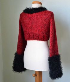 Knitted shrug Red and Black by Berniolie on Etsy Winter Hats, Turtle Neck, Knitting, Trending Outfits, Handmade Gifts, Red, Sweaters, Etsy, Vintage