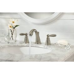 Moen, The Brantford High-Arc Bathroom Faucet Trim Kit is also WaterSense certified for eco-friendly operation, ensuring efficient water usage with the performance you expect. This trim kit requires MOEN valve 9000 to complete installation. Brushed Nickel Faucet, Brass Faucet, Widespread Bathroom Faucet, Bathroom Sink Faucets, Shower Faucet, Concrete Bathroom, Shower Tiles, Remodel Bathroom, Bathroom Remodeling