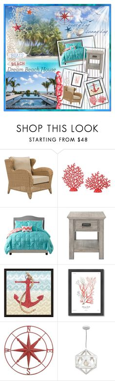 """""""dream beach house"""" by summer-marin ❤ liked on Polyvore featuring interior, interiors, interior design, home, home decor, interior decorating, Uttermost, Threshold, Green Leaf Art and Americanflat"""