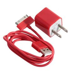 Mini 2 in 1 Charger Kit US Standard USB Power Adapter + USB Cable for iPhone 4 / 4S / 3GS / 3G (RED)   Everbuying.com