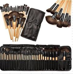 32pcs Professional Soft Cosmetic Eyebrow EyeShadow Makeup Brush Pouch Bag Case Wholesale Worldwide