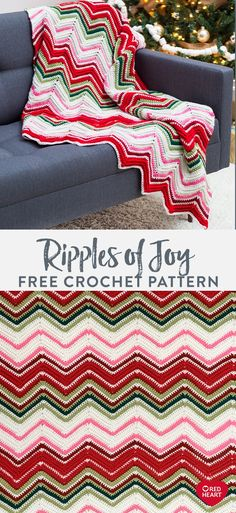 Ripples of Joy Throw free crochet pattern in Red Heart With Love. A ripple pattern makes colors dance on this crochet throw that infuses happiness into any space. We've designed it with post stitches for added texture, and to keep the project interesting. Featuring 6 juicy shades to color your world, Red Heart With Love lets you complete a cozy layer that's perfect for your holiday home. Swap out shades and create a throw you can use any time of the year too! Easy Knitting Patterns, Loom Knitting, Knitting Stitches, Knitting Projects, Crochet Projects, Crochet Ideas, Knit Or Crochet, Crochet Scarves, Free Crochet