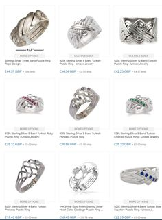 Sterling silver puzzle rings - A great time to buy a unique conversation piece for yourself or as a gift for a friend. Check out some great designs at the Ringmania website. Turkish Wedding, Puzzle Ring, How To Wear Rings, Jewelry Website, The Ordinary, Class Ring, Conversation, Great Gifts, Rings For Men